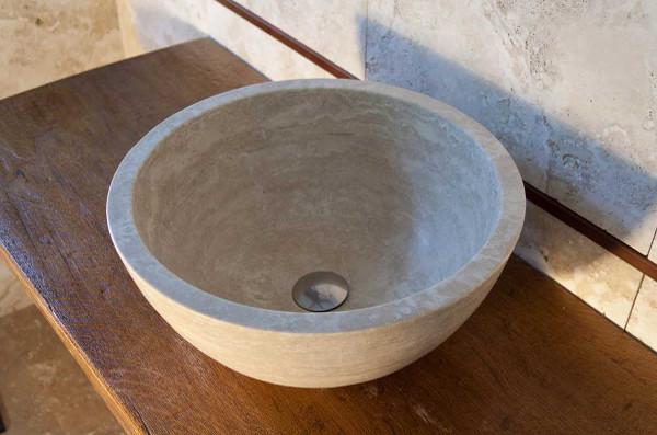 Lavabo da appoggio tondo lavandino in marmo - Lavelli da appoggio per bagno ...