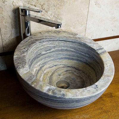Lavabo da appoggio tondo lavandino in marmo - Lavelli bagno da appoggio ...