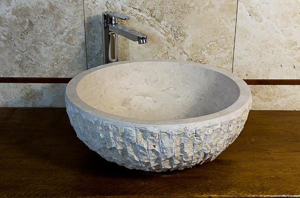 Lavabo da appoggio tondo lavandino in marmo - Lavandini bagno da appoggio ...