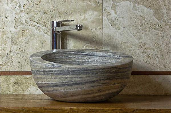 Bellissimi lavandini in pietra dal beige al grigio lavandino in marmo - Bagno in pietra ...