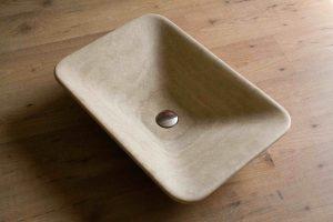 lavabo da appoggio rettangolare in travertino opus