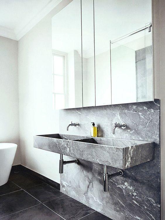 lavabo minimale in pietra grigio minimal style interior bathroom