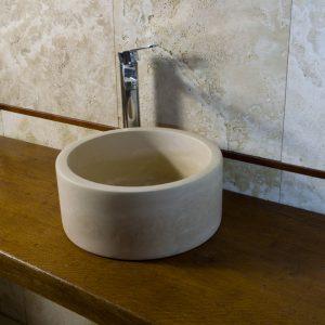 TONDINO lavabo piccolo da appoggio in travertino