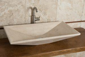 radda lavabo rettangolare da appoggio incasso in travertino chiaro
