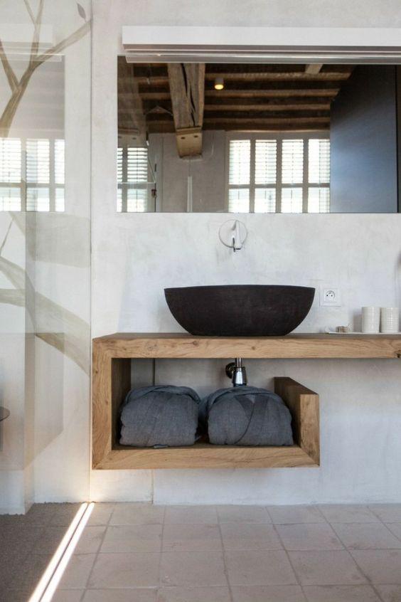 lavabo da appoggio basalto nero piano in legno pietra bagno