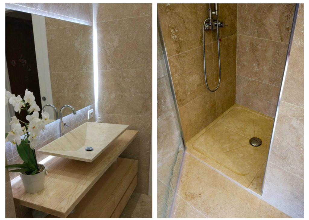 lavabo in pietra travertino piatto doccia bagno elegante