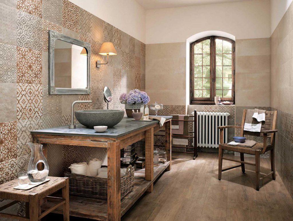 bagno rustico con lavabo in pietra stile shabby chic romantico