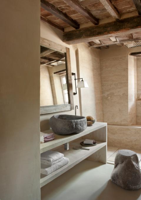 Bagno shabby chic con lavabo in pietra lavandino in marmo - Lavabo pietra bagno ...